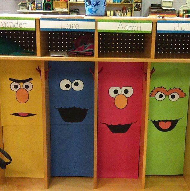 Sesame Street cubbies I did for my toddler class