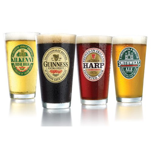 Features: -Each of the following decors guinness extra stout, harp lager, kilkenny and smithwick's ale glass. -Dishwasher safe. -Made in the USA. -Set includes 4 glasses. Country of Manufacture: