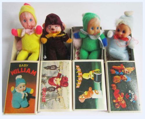 Vintage-BABY-WILLIAM-3-Mini-Bean-Baby-Matchbox-Doll-with-Box-70s-Retro-Toy-x-4