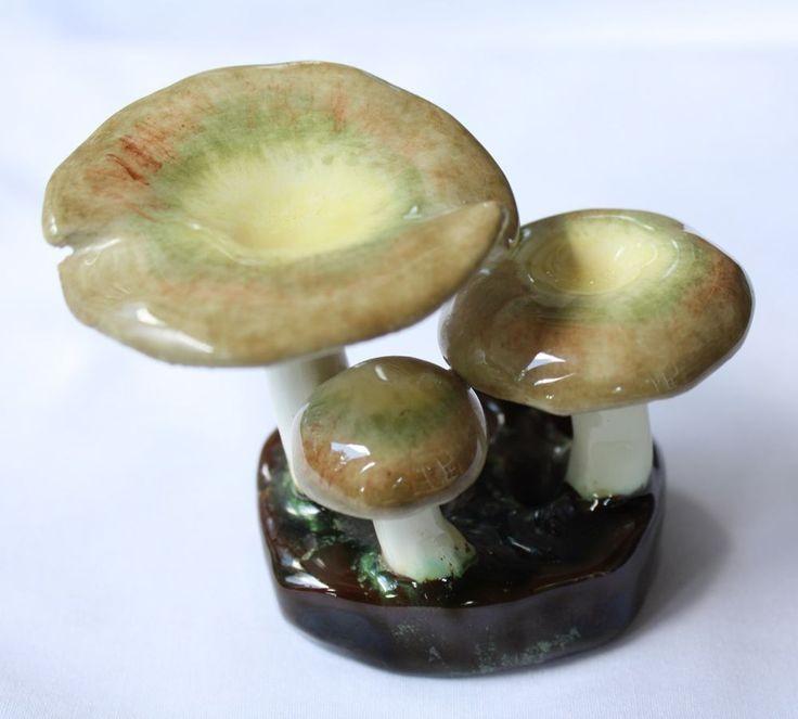 Rare Vintage Lorenzen Lantz Nova Scotia Pottery Mushroom Sculpture Russula Oliv