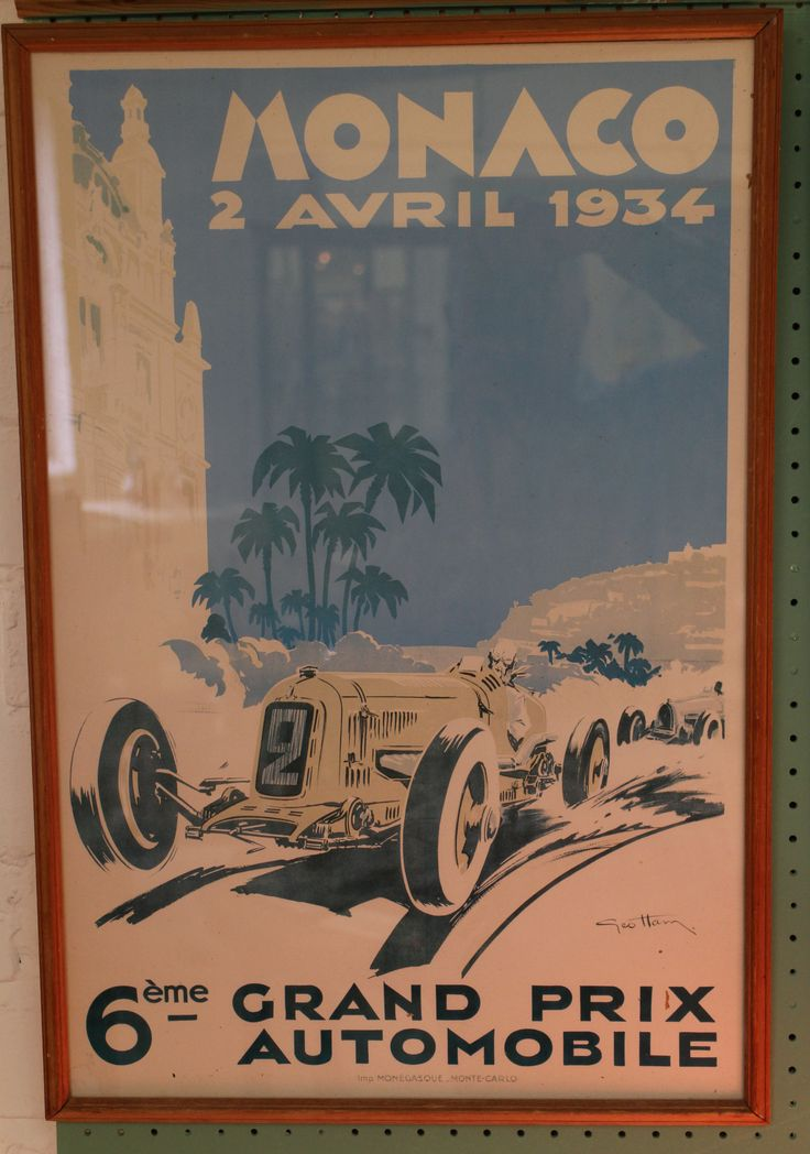 Vintage reprint of Monaco 1934 Grand Prix poster. Framed and glazed. Overall size measures 23.5 inches x 16 inches.