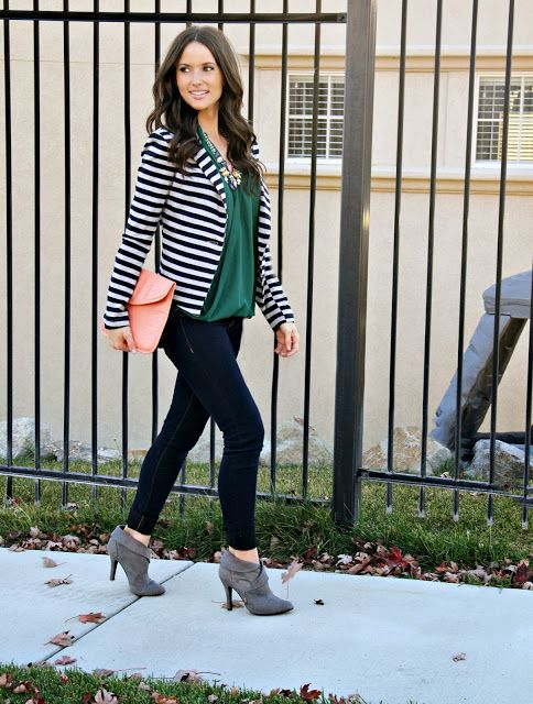 Kiss Me Darling: Fall Leaves/ Bloggers Give Back Fall Outfit, stripe blazer, gray booties