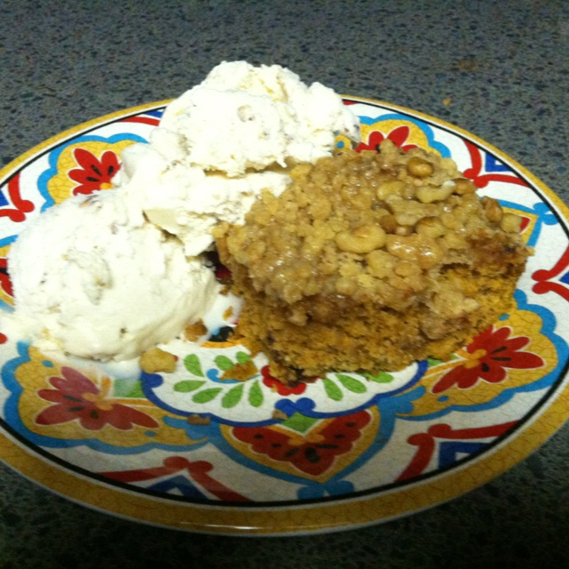 Pumpkin Coffee Cake with Brown Sugar Glaze....and a big ole helping of ...