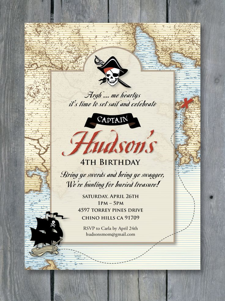 PIRATE Invitation for Birthday Party Vintage Pirates of the