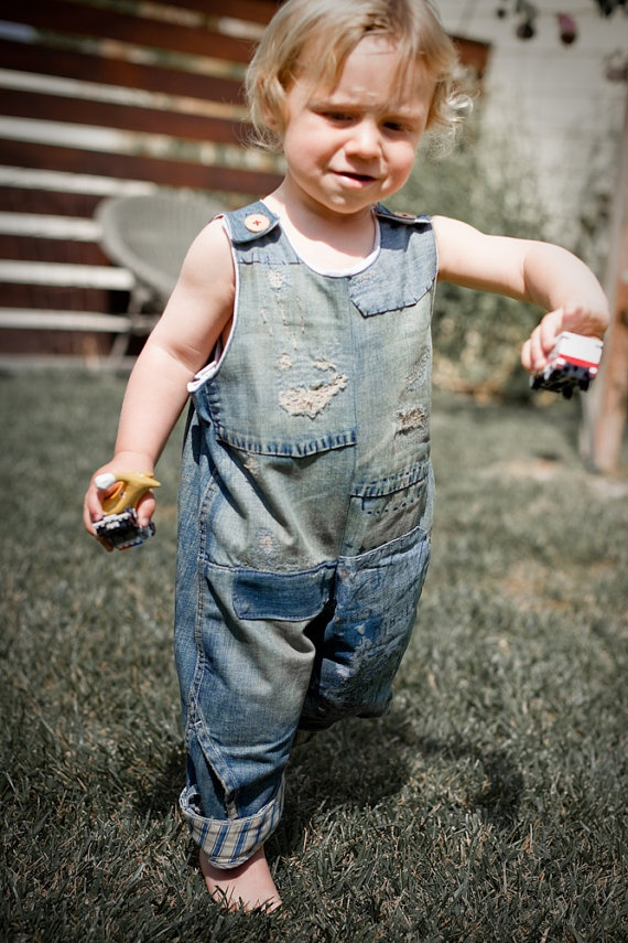 Upcycled Denim Jumpsuit  1218m to 5y by bebeloo on Etsy, $36.00