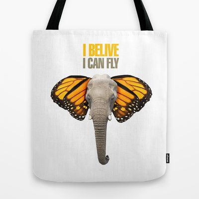 BUTTERFLY ELEPHANT Tote Bag by VINSPIRO - $22.00