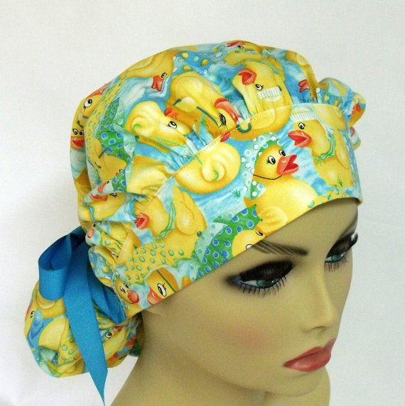 Surgical Scrub Hat or Cap Womens Bouffant Ducks by ScrubsbyEdie