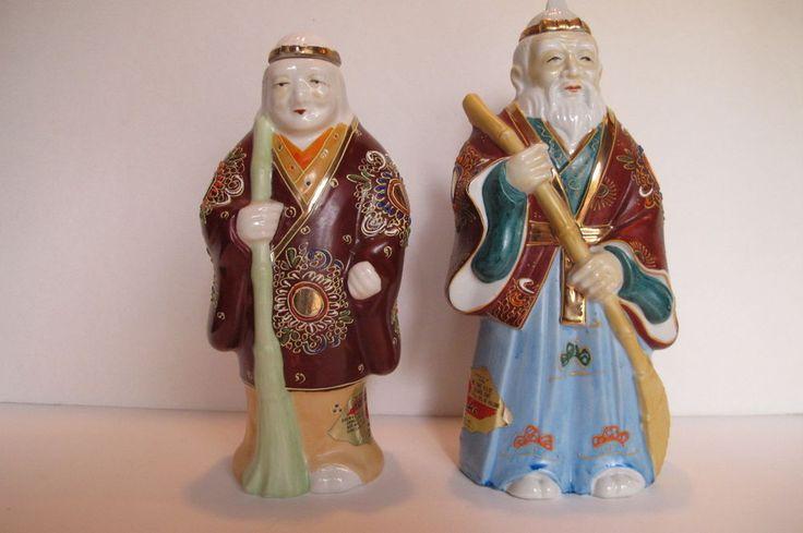 Vintage Pair Asian Japanese Kamotsuru Sake Man & Woman Decanters Original Label