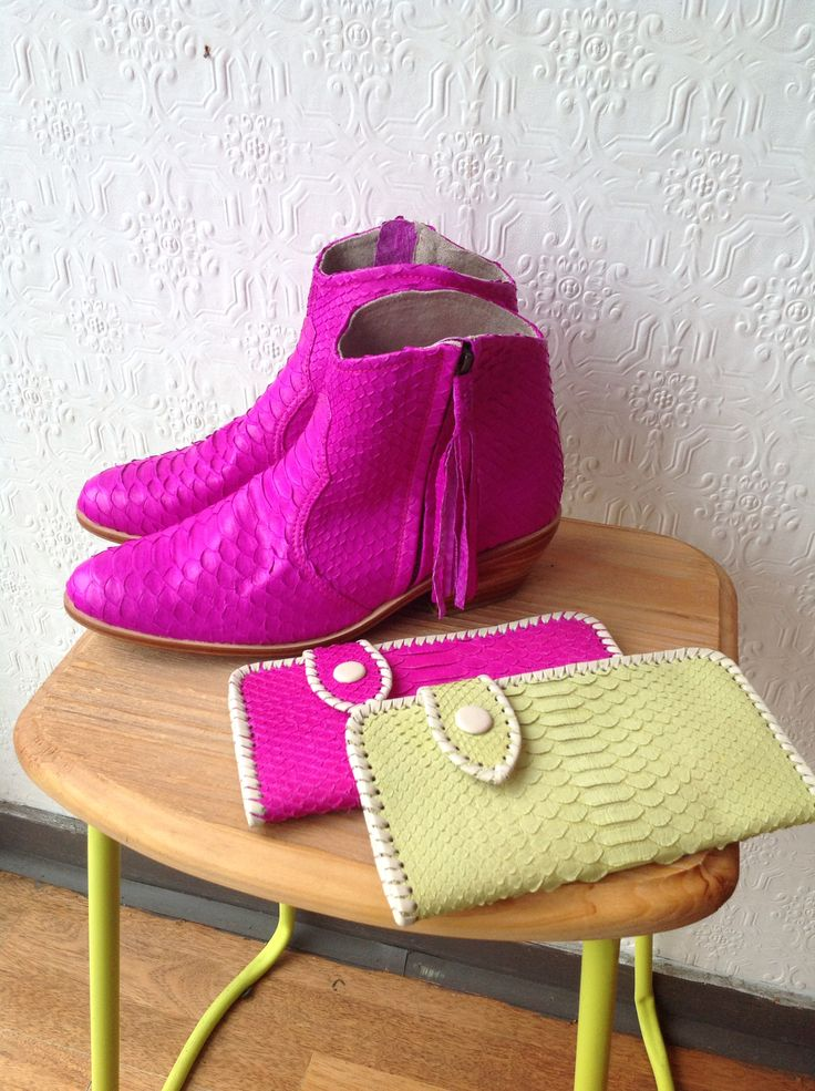 Neon pink snakeskin boots only at Jfahri