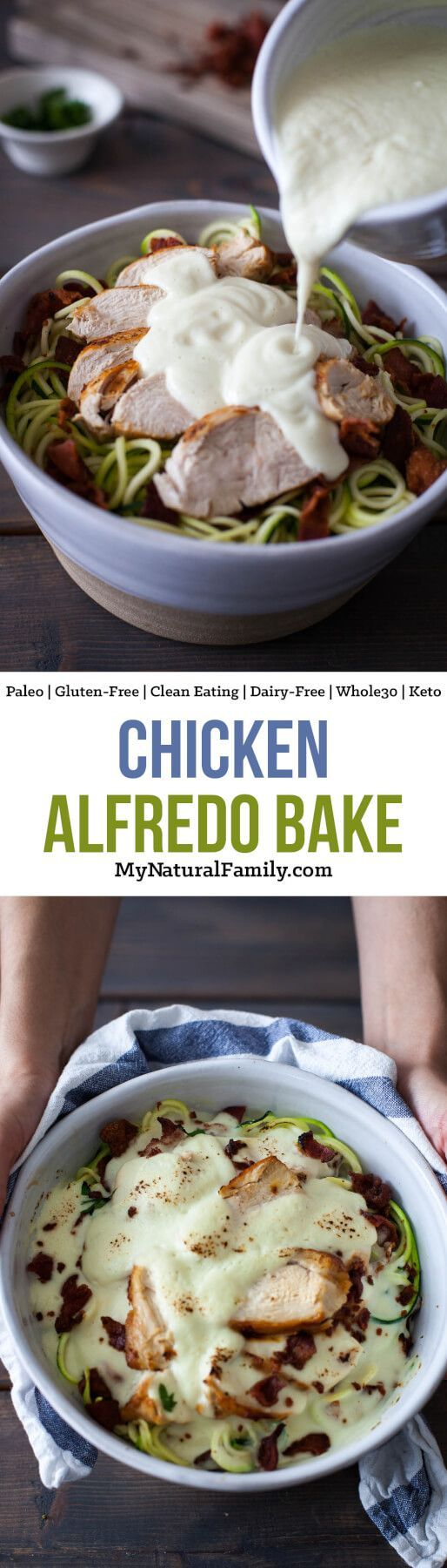 Chicken Alfredo Bake Recipe {Paleo, Clean Eating, Gluten-Free, Dairy-Free, Whole30, Keto} - This cauliflower Alfredo sauce is so good and it really helps to pull together the chicken, bacon and zoodles. So simple and so good!