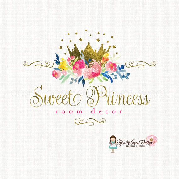 princess logo design gold foil crown logo watercolor
