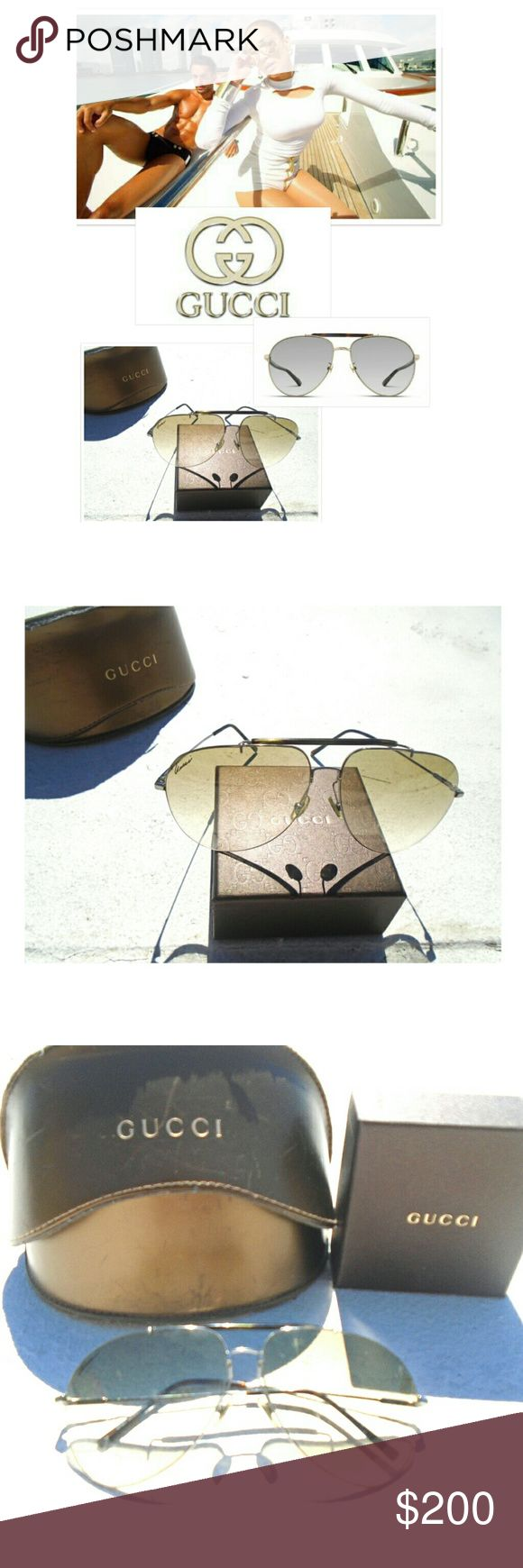 GUCCI UNISEX AVIATORS GLASSES Pre-Loved GUCCI AVIATORS GLASSES  COME WITH CASE  & GUCCI CLEANING INCLUDED BUY NOW OR BUNDLE AND SAVE  WE LOVE OFFERS!  SUGGESTED SELLER  SAME DAY SHIPPING  SHOP WITH CONFIDENCE Gucci Accessories Glasses