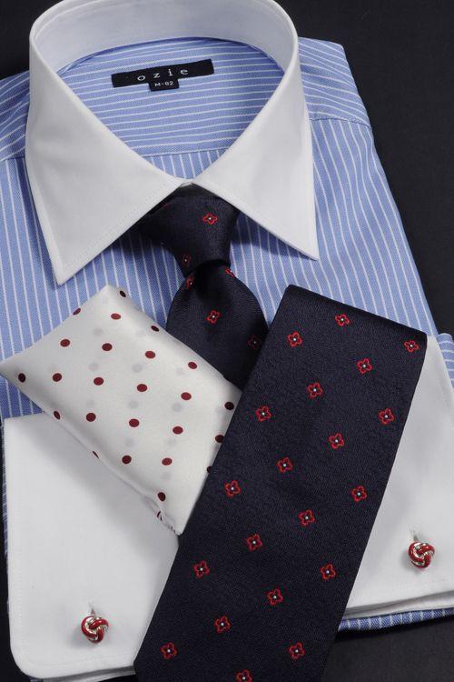 ozie オジエ セミワイド・ダブルカフス パーティーやイベントに! #mens #shirtstyle #shirt coordinate #mensfashion #dress shirt #Tie #necktie #メンズファッション #コーディネート #ワイシャツ #ネクタイ