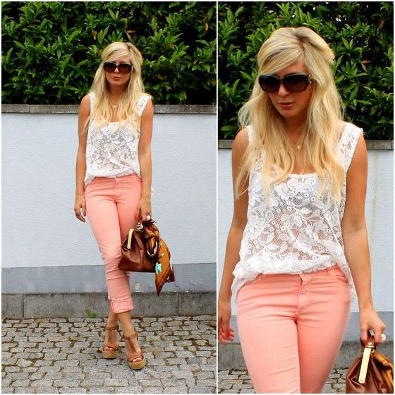Apricot-coloured (by Lisa B) http://lookbook.nu/look/3637975-apricot-coloured: Fashion, Coral Pants, Lace Tops, Style, Dream Closet, Pastel Jeans, Outfit, Colored Jeans