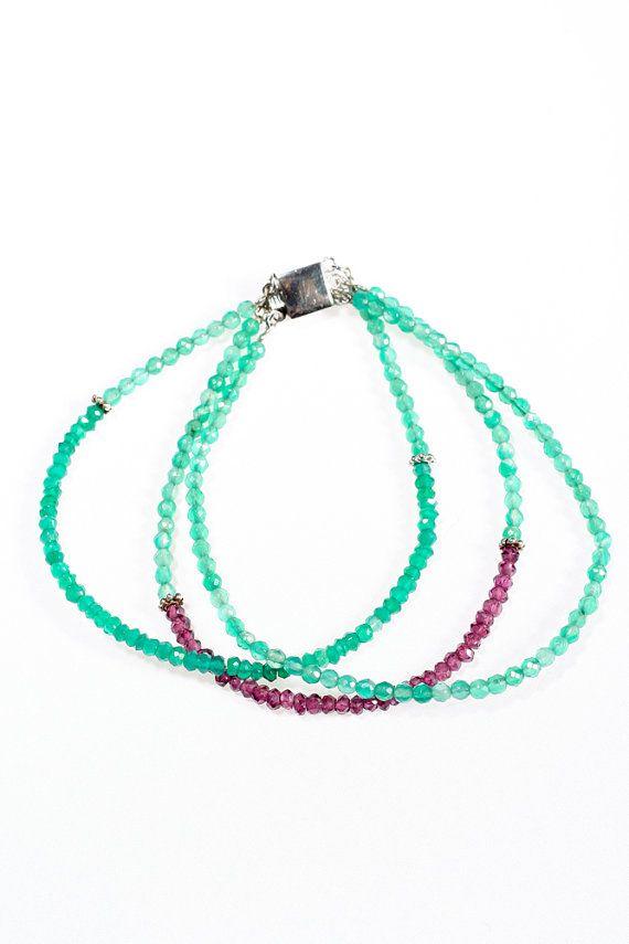 Bracelet with Garnet Aventurine Green Onyx by OurSerendipityStones
