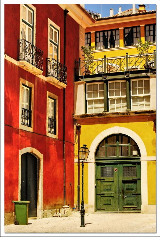 Alfama, Lisbon - the bright colors traditional buildings #Portugal