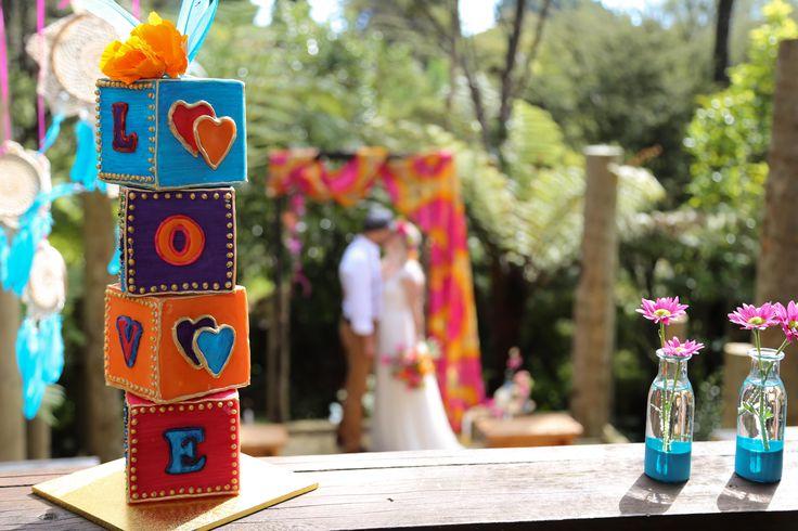Fun, bright and colourful boho wedding cake Talisman Café Waihi New Zealand www.hushaccommodation.co.nz