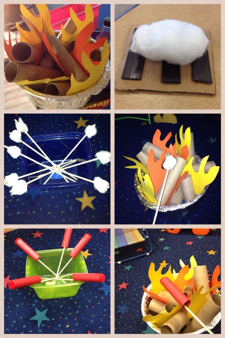 Play campfire made out of cotton balls, toilet paper tubes, and construction paper. Have to try this, sooooo cute!