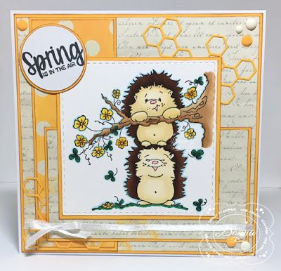 """ONECRAZYSTAMPER.COM: Spring Loaded by Donna using High Hopes Stamps """"Hedgies Spring Loaded"""" (TT120) & Sentiment: """"Spring Is In The Air"""" (HH059"""