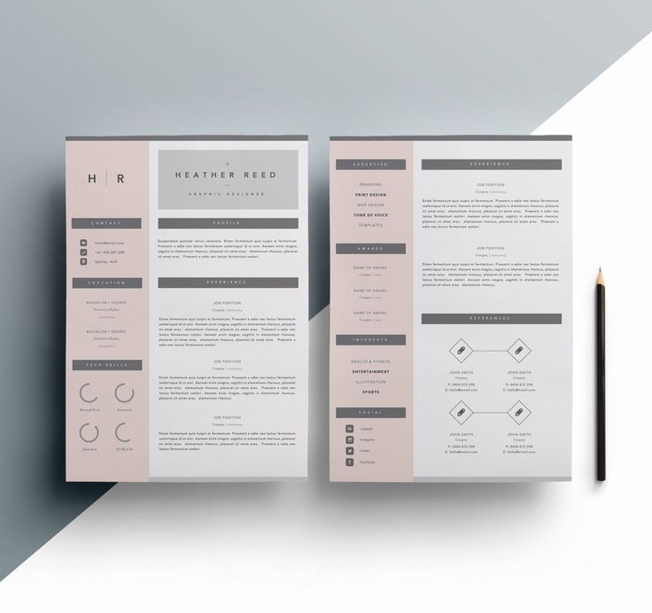 Resume 2 Page CV Template Cover Letter for MS Word by TTDResumes