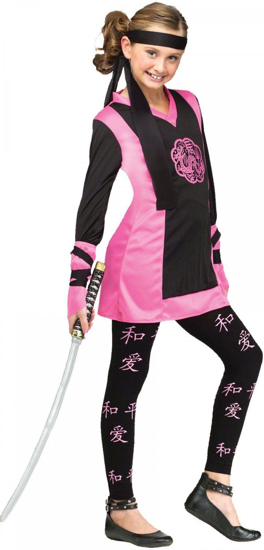 DRAGON NINJA Pink GIRL Child Halloween Costume Medium 8-10