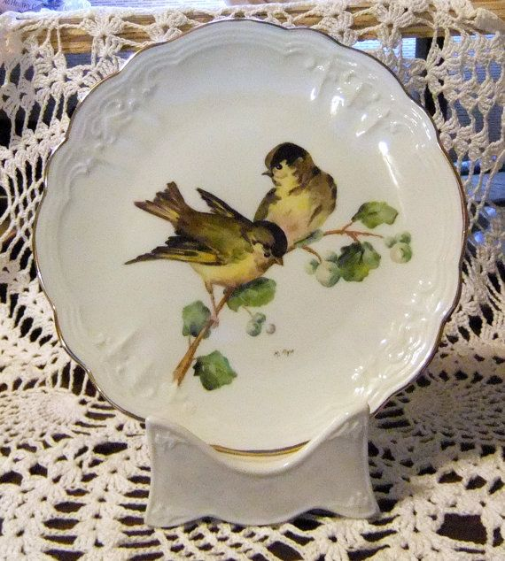 Handpainted bird on a porcelain plate with gold by MAyoPorcelain & 441 best :: Plates ~ Birds images on Pinterest | Dishes Dinner ...