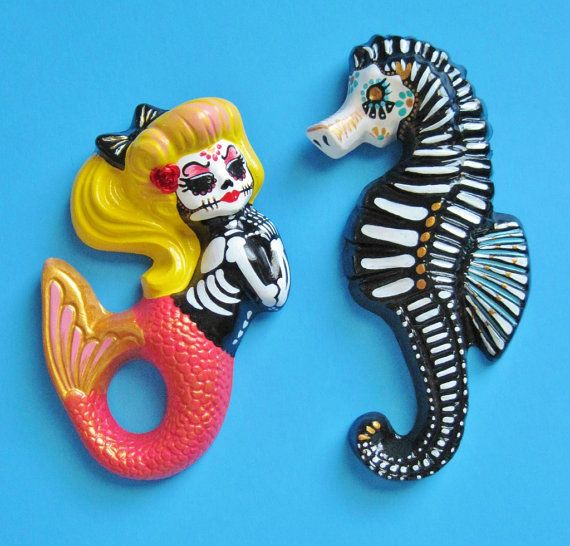 Day of the Dead MERMAID and SEAHORSE Art Set Wall Hangings - CUSTOM Choose Your Own Colors