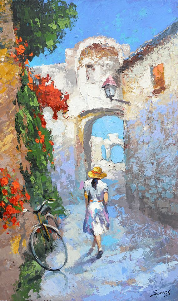 Old street  oil on canvas paintings by Dmitry Spiros by spirosart