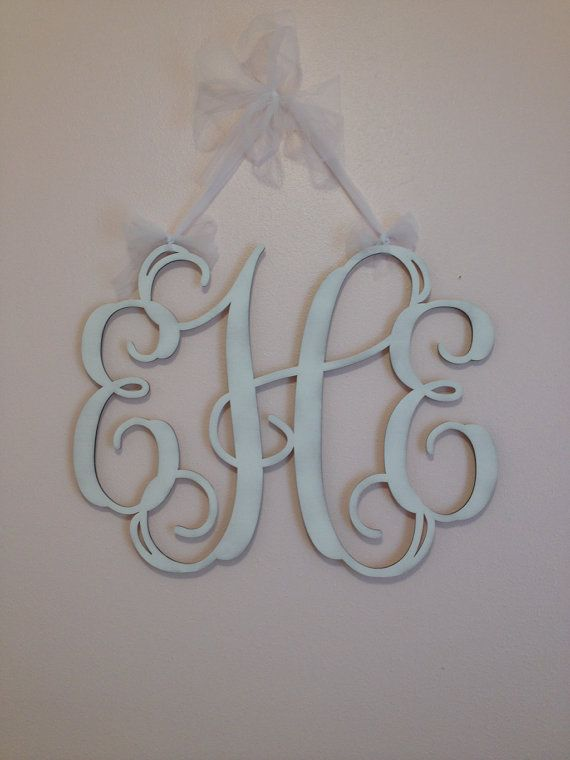 Home Decor 24 Wooden Monogram Wall Art by CustomCutMonograms, $17.95. Perfect thing to put up in our living room!