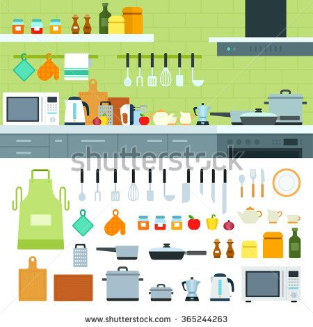 Cooking tools vector flat illustrations. Kitchen with modern cooking equipment, products on the shelves. Cooking at home concept. Pots, spices and othe cooking utensils isolated on white background
