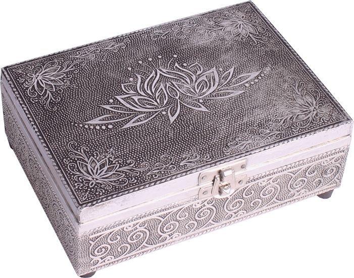 FindSomethingDifferent Embossed Silver Finish Wood Lotus Tarot Box Felt Lining  | eBay
