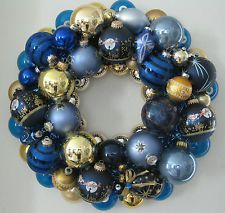 ... Wreath in Shades of Blue & Gold #christmaswreath #blueornaments
