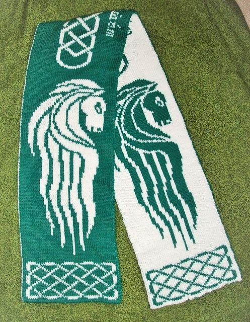 Free knitting pattern Rohan Banner Double-Knit Scarf by IrishElinor Lord of the Rings inspired reversible double knit scarf is based on the White Horse upon green banner of Rohan, or as the Rohirrim call their country, the Mark of the Riders