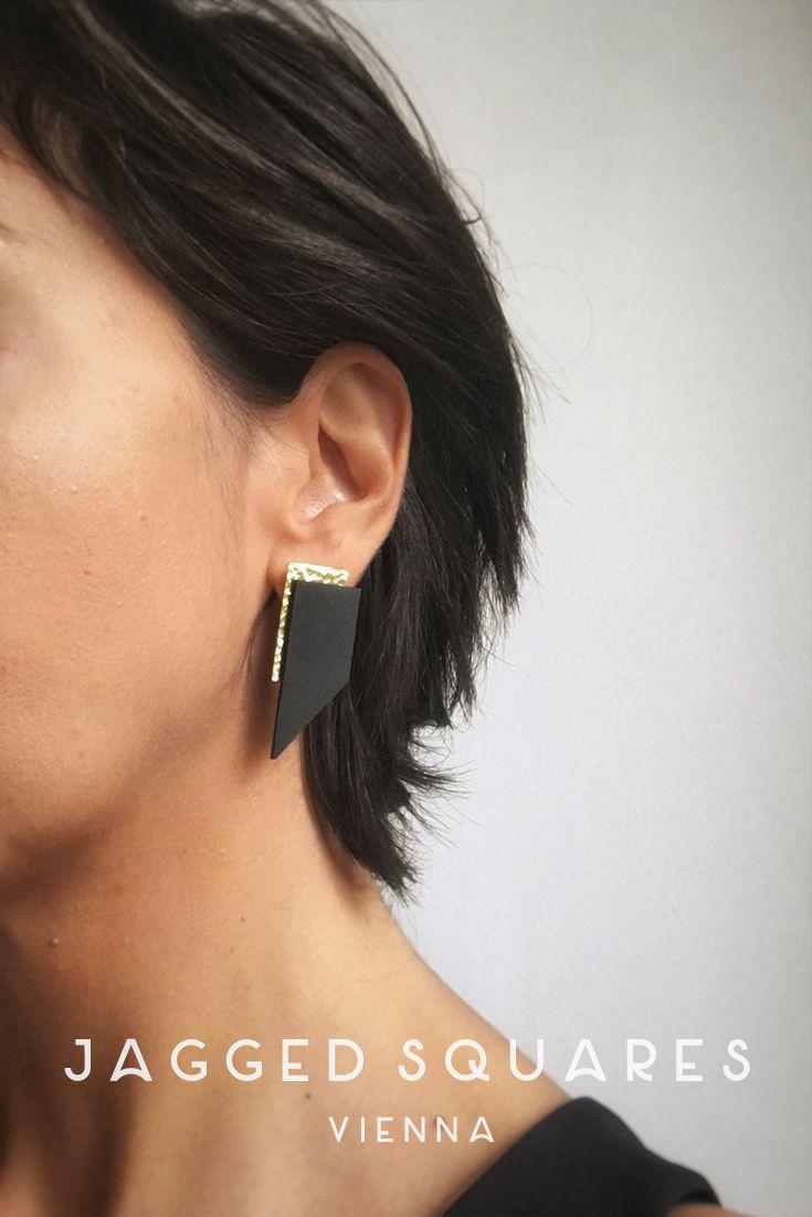 Black Golden Geometric Earrings