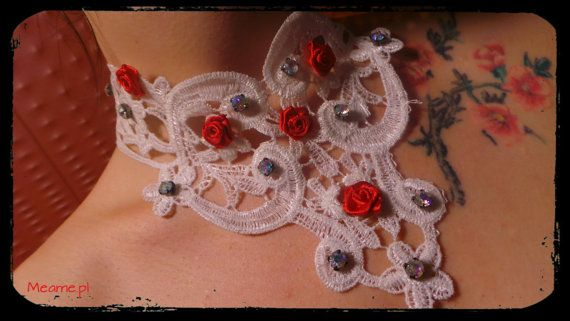 Romantic chocker with roses by MeameHandmade on Etsy