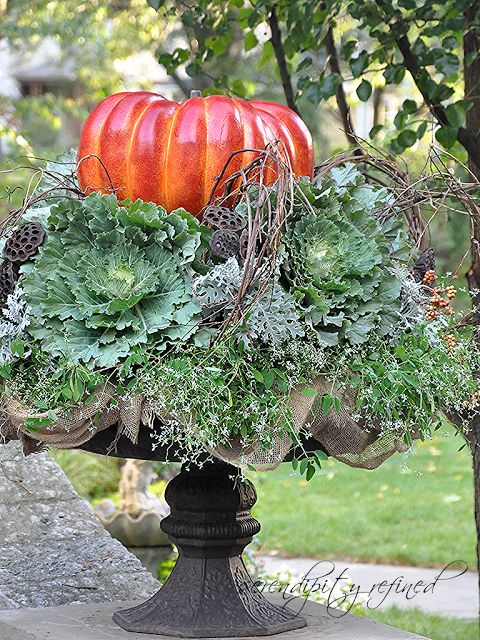 FABULOUS Fall urn - filled with decorative cabbage, vines, pumpkin!