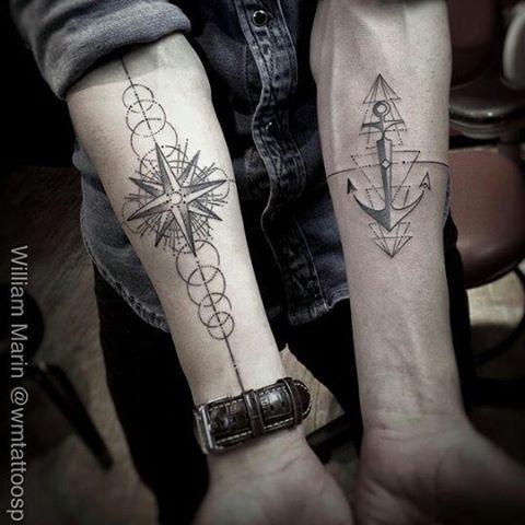 Bussola e âncora, trabalho geometrico feito pelo @wmtattoosp. #geometric #anchor…