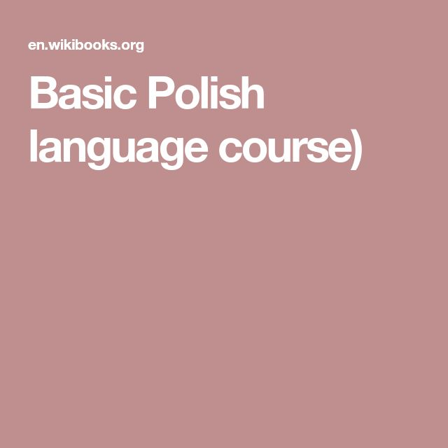 Basic Polish language course)
