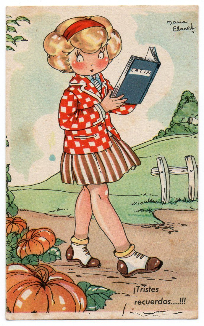 Golden curls with red headband -vintage postcard by Maria Claret - re-pinned by: http://sunnydaypublishing.com/books/