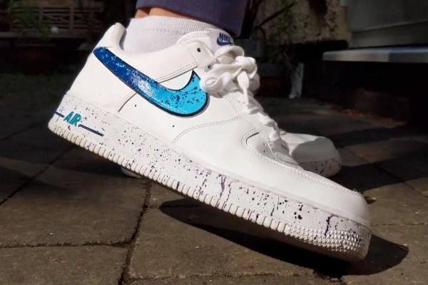 Custom Nike Air Force 1 Low Blue Splatter Nike Air Force Nike