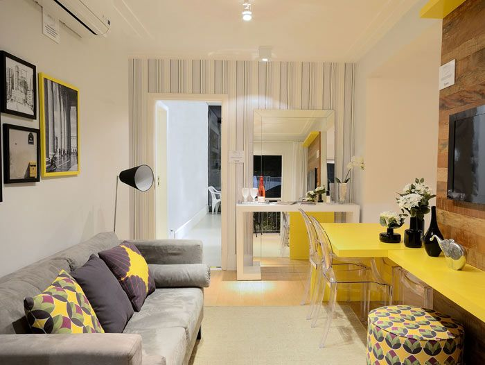 Decor. Composição de Cores. Amarelo. Sala integrada.