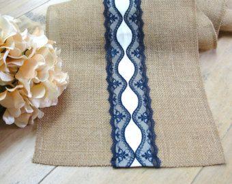 Rústico chic arpillera mesa runner boda tabla topper vintage de encaje azul marino lino tamaño de encargo disponible