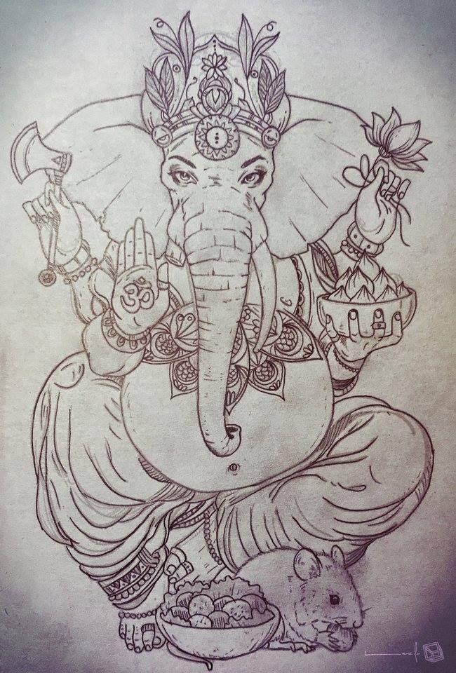For more, visit: facebook.com/thelazlodasilva  Tattoo Sketch - Ganesha #ganesha…