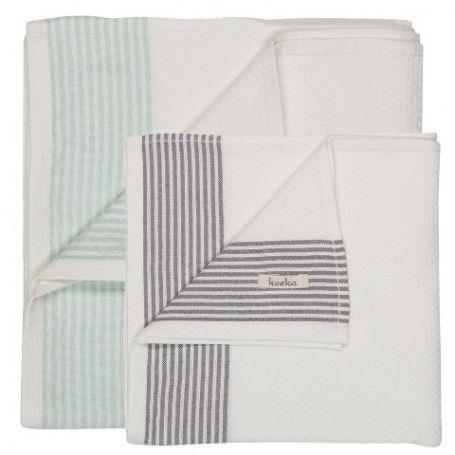 Avola hydrofiele doek set van 2 stuks  - Mint en Soft Grey