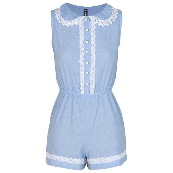 Crochet Trim Peter Pan Collar Blue Playsuit (25.675 CLP) ❤ liked on Polyvore featuring jumpsuits, rompers, dresses, playsuits, shorts, blue jump suit, blue rompers, blue jumpsuit, playsuit jumpsuit and jump suit