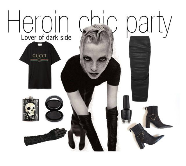 Heroin chic party by bored-and-broken-madlen on Polyvore featuring Gucci, Rick Owens, Enrico Antinori, Wilsons Leather and Lipstick Queen
