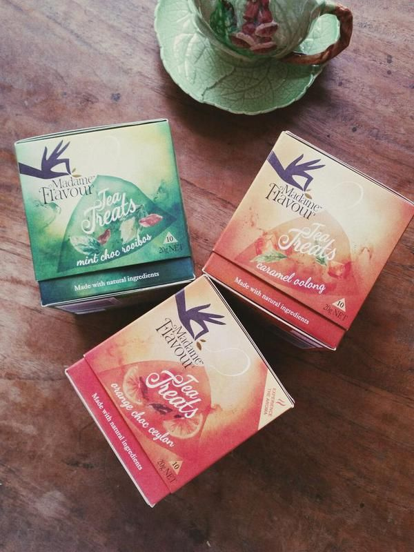 My new Madame Flavour Tea Treats, just 2kj to get you over that sweet craving without the cals. All natural Mint Choc Rooibos, Caramel Oolong and Orange Choc Ceylon teas. Available in Australian supermarkets and coming to NZ in September. #sugarfree #dairyfree #glutenfree #tea