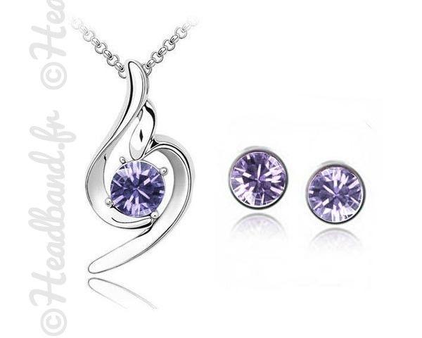 Set collier et boucles tribal violet