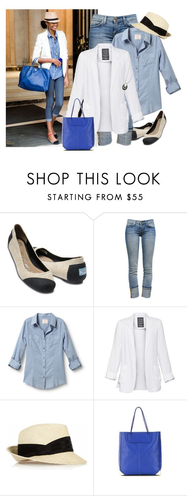 """""""Untitled #404"""" by bonnaroosky ❤ liked on Polyvore featuring TOMS, Current/Elliott, Quiksilver, Talula, Eugenia Kim, Alexander Wang, Oasis, fedora hats, long pendant necklaces and cobalt blue"""