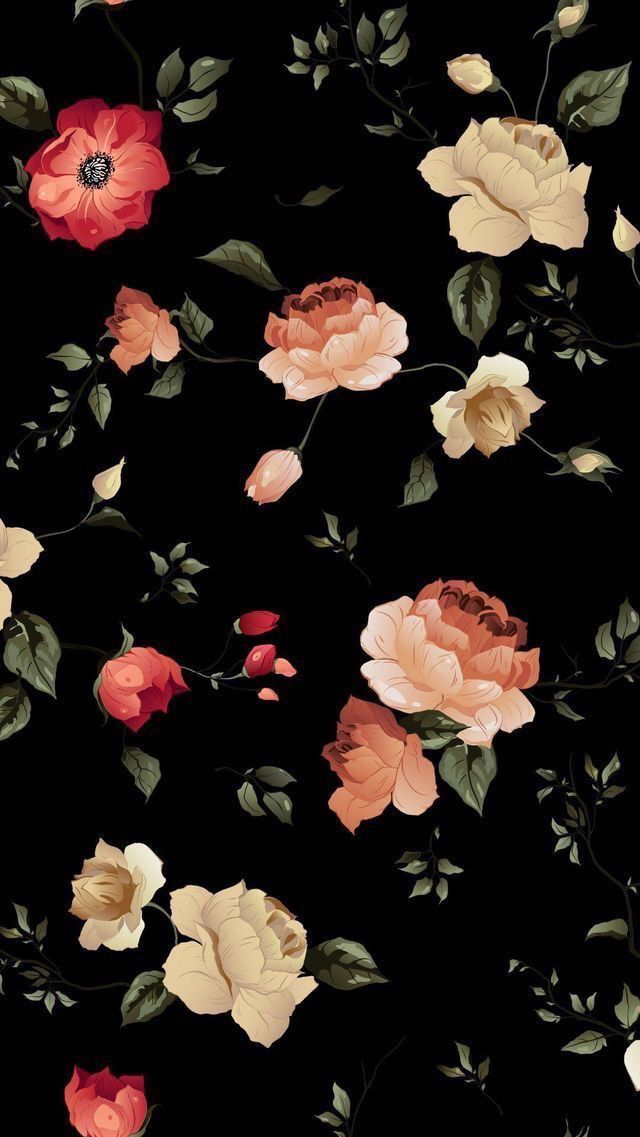 Black Theme Wallpapers Iphone Android Floral Wallpaper Iphone Flower Wallpaper Flower Phone Wallpaper